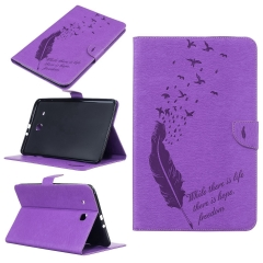Galaxy Tab E 9.6 inch/SM-T560 Case,Embossed Feather with Card Money Slots Series (pattern 2) for t560 t561