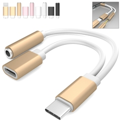 2 in 1 USB Type C to 3.5mm Audio Jack Headphone Adapter Converter Audio and Charging gold