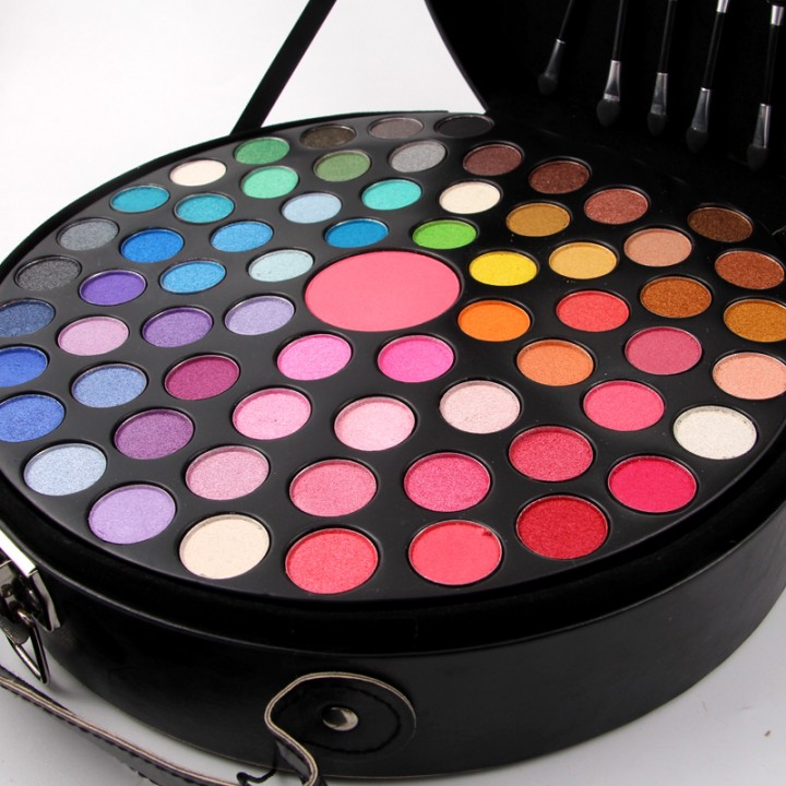 Beautymax 65 Eye Shadow Round Palette with 6 Brushes Professional Makeup Portable Case Palette