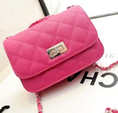 30b218f6083f The new Lingge chain fashion mini shoulder bag diagonal cross package women  bag pink one size