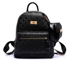 The new large Lingge embossed high-grade shoulder bag mother and daughter package black one size