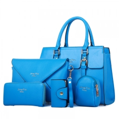 The new simple ladies handbag OL commuter stereotypes female bag five - piece mother package blue one size