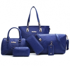 The new Mother package six packets of handbags wild shoulder bag shoulder bag blue one size