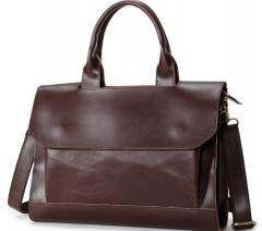 Retro shoulder bag briefcase business handbag Messenger bag business men bag brown one size