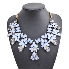The new necklace necklace with high-end women's luxury gem exaggerated necklace chain blue one size