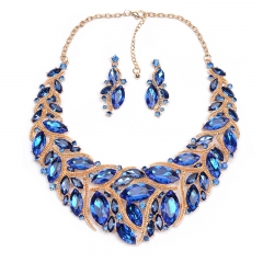 The new luxury big gem exaggerated necklace big short fashion earrings set blue one size