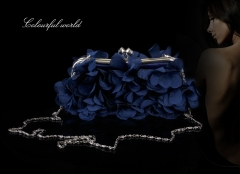 New flowers banquet package bridal bag nightclub package fashion package dress package blue one size