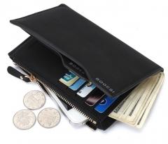 The new PU Men 's wallet card package wallet short wallet men black one size