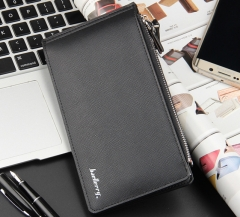 Leisure multi-card long paragraph wallet cross-grain multi-functional ultra-thin bank card package black one size