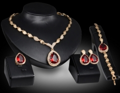 Burst of water droplets precious stones gilded four-piece high-grade alloy as the picture one size