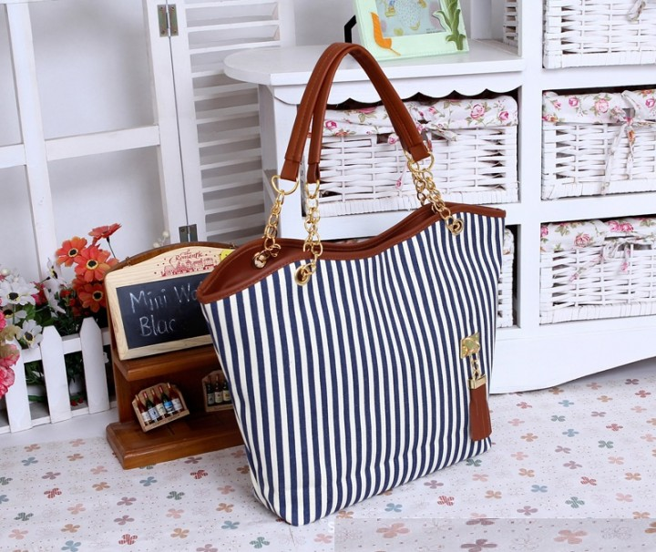 Mom's gift Concise Korean striped canvas bag new summer shoulder bag all-match leisure shopping bag blue one size