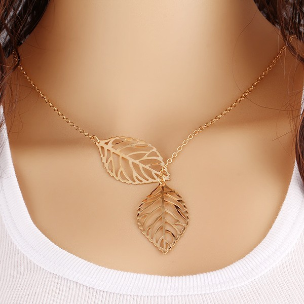 Leaf  necklace double leaf chain female jewelry golden one size