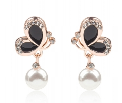 Korean style The new oil painting butterfly diamond pearl earrings black one size