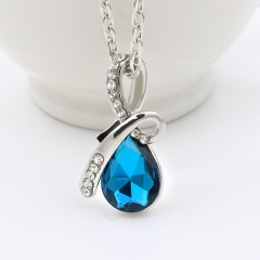 New pop water drop jewel Necklace the tear of angel necklace Girl Gift blue one size