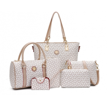 The new six-piece-style fashion shoulder bag cross-bag handbag ladies bag beige one size