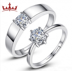 MR.S Couple rings with six jaws diamond rings plated with platinum rings