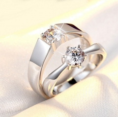 Lovers jewelry open mouth ring classic style silver ring wedding diamond ring