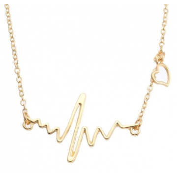 MR.S Fashion simple notes ECG heart rate chain clipping necklace heartbeat feeling pendant golden one sze