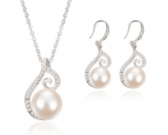 Imitation water diamond pearl necklace jewelry set as the picture one size