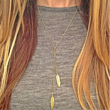 Jewelry simple branches gold leaves simple short necklace golden one size