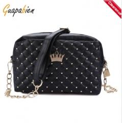 Guapabien Crown Rivet Grid Detachable Chain Belt Shoulder Messenger Bag black one size