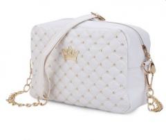 Guapabien Crown Rivet Grid Detachable Chain Belt Shoulder Messenger Bag white one size
