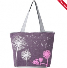 Charming Dandelion Floral Canvas Bag as the picture one size