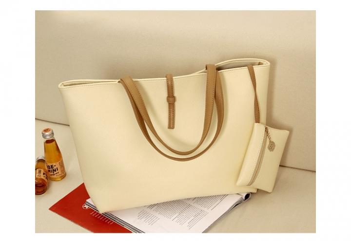 MR.S Fashion High Capacity Handbag With Small Wallet  Buckle PU tote bag beige one size