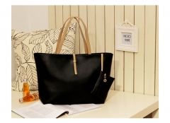 MR.S Fashion High Capacity Handbag With Small Wallet  Buckle PU tote bag black one size