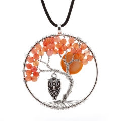Handmade Creative Life Tree agate beads Crystal Owl Necklace Pendant Necklace as the picture one size