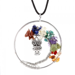 Handmade Creative Life Tree Agate Beads Crystal Owl Necklace Pendant Women's Necklace as the picture one size