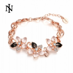 MR.S Korean diamond flower cat's eye bracelet rose golden rose golden one size