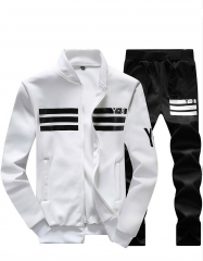 Spring and Autumn new men's sports suit leisure long-sleeved baseball suit jacket Y8 student sweater white m