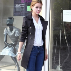 Spring and autumn coat female long coat women's jacket Slim belt in the long trench coat black s