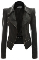 Autumn and winter women's motorcycle jacket jacket two zipper leather black m