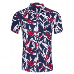 Summer beach short-sleeved men's code cotton printed Hawaiian shirt 23-1 s