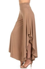 9 points Europe and the United States new ladies irregular comfort wide leg pants khaki S
