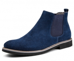 Chelsea flat Martin boots leather men's boots trend daily casual  men's shoes blue 38