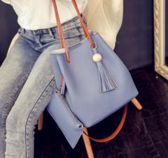 MR.S Fashion High Capacity Handbag With Small Wallet  bucket pu Handbag blue one size