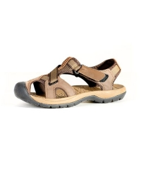 Rukana  Leather Unique Trendy with Tough Rubber Sole  Men's Sandals Dark Brown R001-44