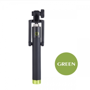 Mobile phone self timer pole wire self timer lever green one size