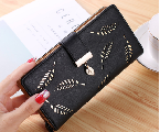 New Fashion Women Wallets Long Style long leaves wallet card package female black one size