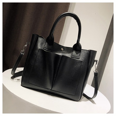 Women Casual Solid Flap Leather Wild Shoulder Bag Messenger Bag Vintage Tote Bags black one size