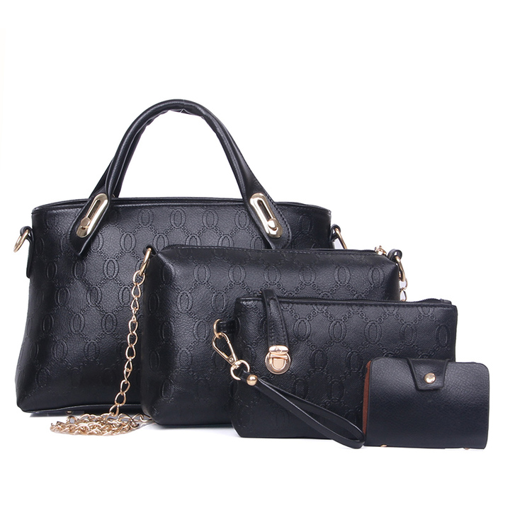 Woman bag 2019 New Fashion Four-Piece Shoulder Messenger Wallet Handbag elegant Forth Set bag black as the descriptions