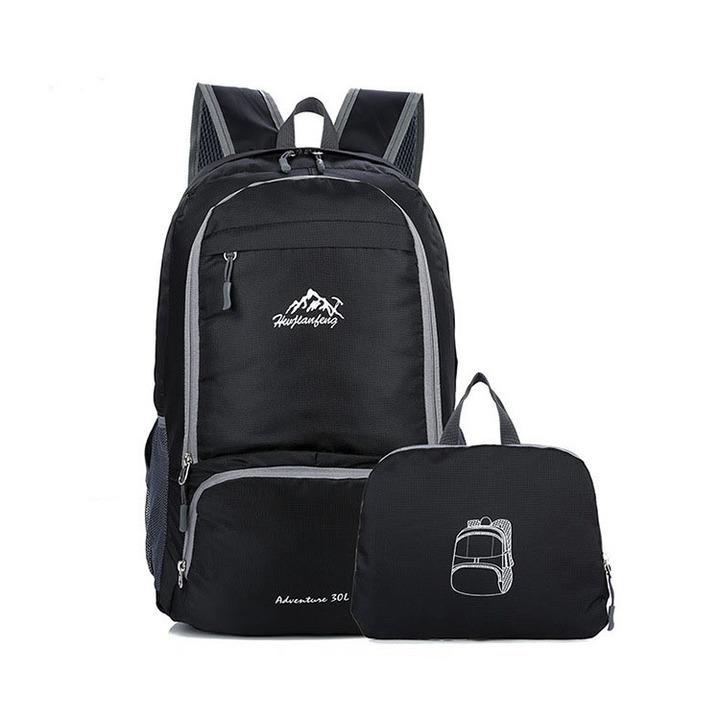 Nylon Foldable Backpack Waterproof Ultralight  Folding Lightweight Outdoor Travel Sport Hiking Bag black 17