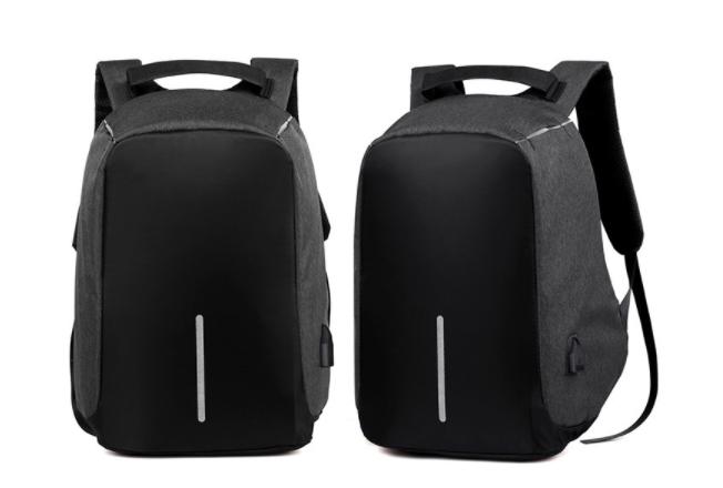Laptop Backpack sleeve case bag Waterproof USB Charge Port Schoolbag Hiking Travel bag black 17