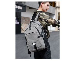 Men's backpack for laptop usb load computer bags style casual bags great businessman travel backpack gray 17
