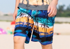 Men's Swim Trunks Coconut Tree Printing Beach Short for Gift With Mesh Lining blue 3xl