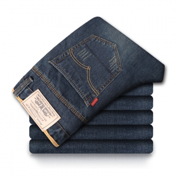 Blue Jeans Men Straight Denim Jeans Trousers Plus Size High Quality Cotton Mens Jeans blue 32