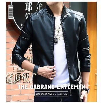 Korean Slim Jacket  Men Zipper Pockets 2017 Fashion Autumn Men's Jackets Black Windbreaker Coat Male black m